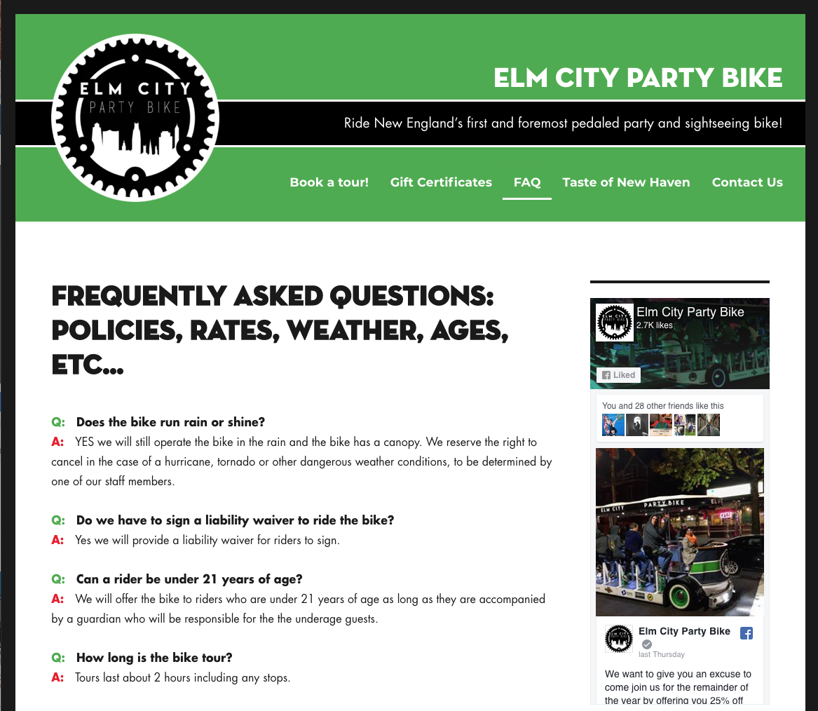 Elm City Party Bike FAQ